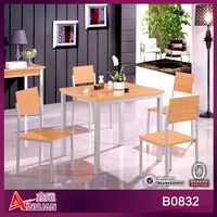 B0832 Modern royal 4 seat gold oak colored MDF table and chairs princess