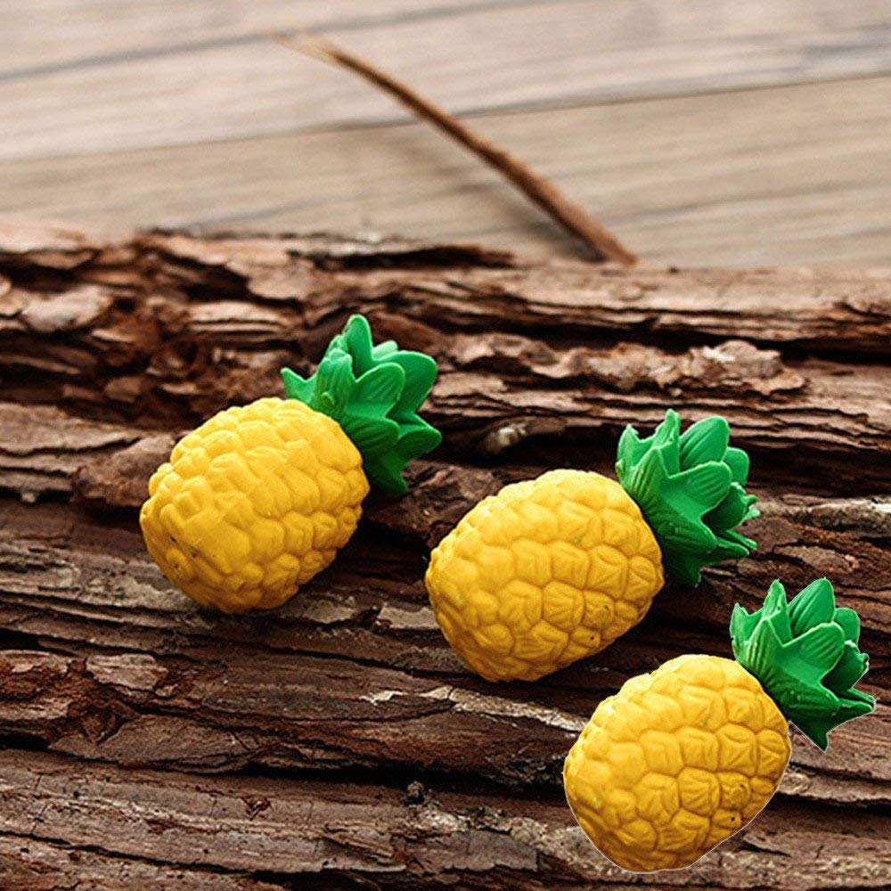 Hot Sale! Hongxin 3 Pcs/Pack Yellow Pineapple Fruit Eraser Rubber Eraser Primary Student Prizes Promotional Gift Stationery Back To School Supplies Creative Gift