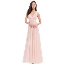 Женское платье подружки невесты, длинное шифоновое платье трапециевидной формы с v-образным вырезом для свадебной вечеринки, элегантное пл...(Китай)