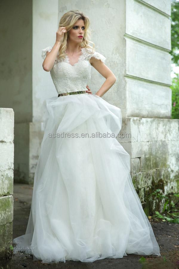 Rm01 Unique Crop Top Tulle Skirt Beading Short Sleeve Wedding Dress ...