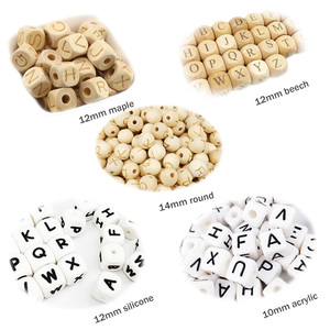 10mm Wooden Square Cube Alphabet Letters Beads for Personalized Baby Teether