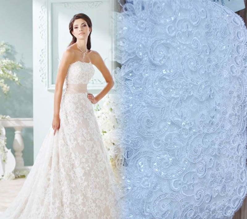 Hot sale Wedding Dress Decoration White ruffles Birdal Lace african trim lace Polyester Knitted sequins lace trim