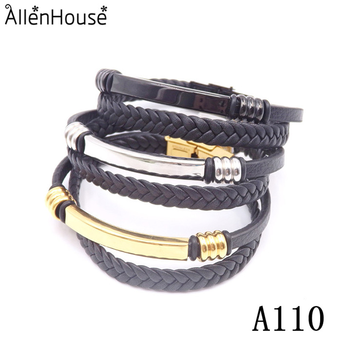 Factory Supply Competitive Novelty Accessories Wholesale stainless steel blank bar leather Bracelet Custom