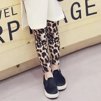 S64251B Baby Girls Pants Fashion Leopard Print Trousers Spring Autumn Children Kids Leggings