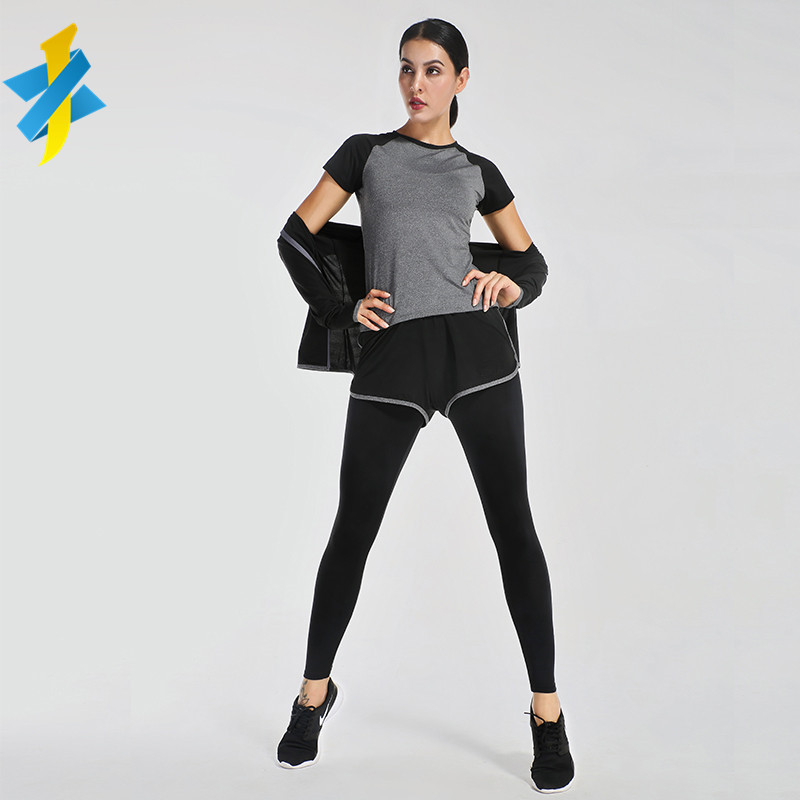 Yoga wear and running jacket jogging suits wholesale women gym tracksuit