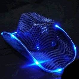 LED Flashing Cowboy Hat with Blue Sequins by Blinkee