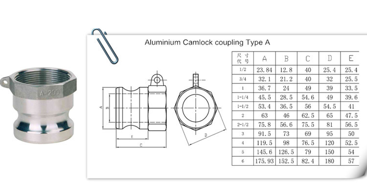 cm al aaluminum Npt bsp Thread Flexible Quick Camlock Coupling