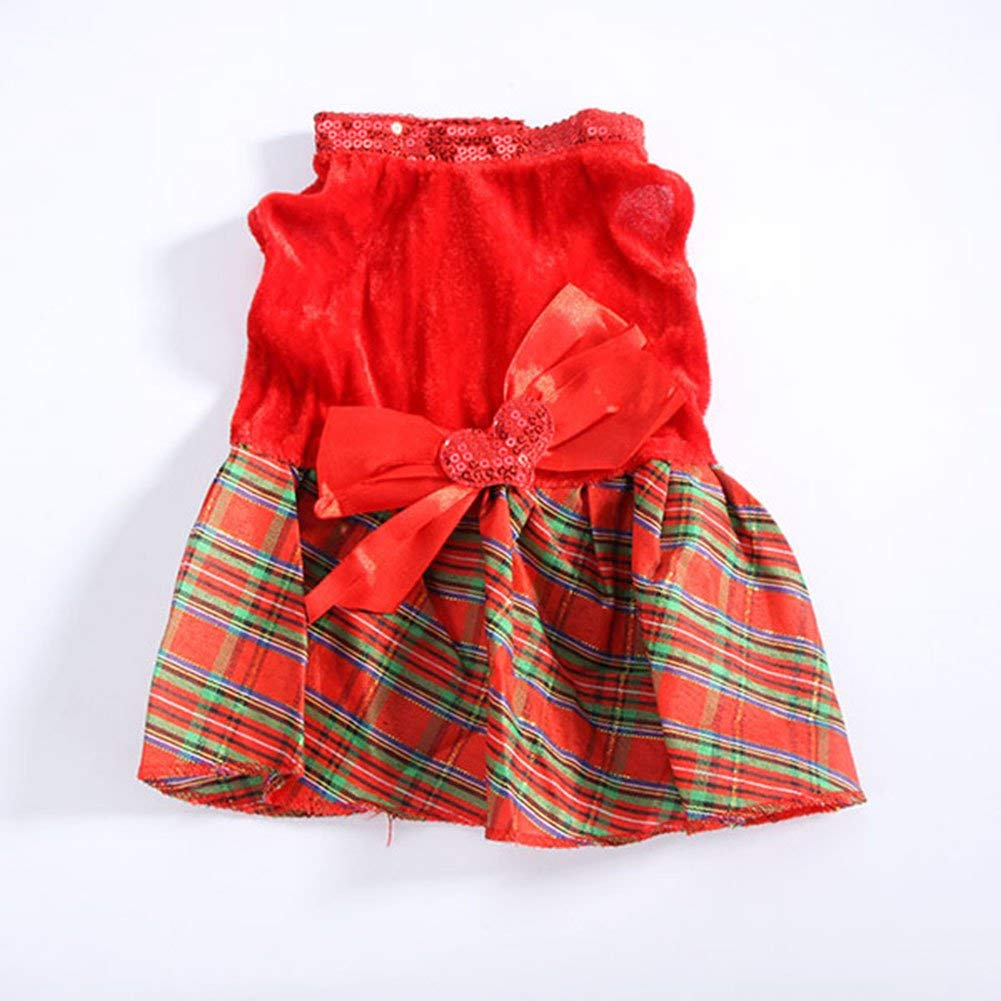 Colorfulhouse Bow-knot Christmas Pet Costume Plaid Skirt Dog Clothes Santa Dog  Dress (M 1c67c652ceb9