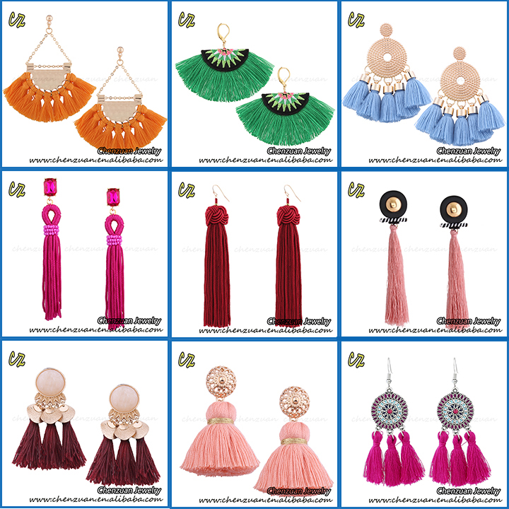 Handmade Bohemia Ethnic Tassel Jewelry Long Silk Thread Tassel Earrings Gold Plated For Women 2019.jpg