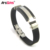 world-wide renown rubber wristband with metal buttons