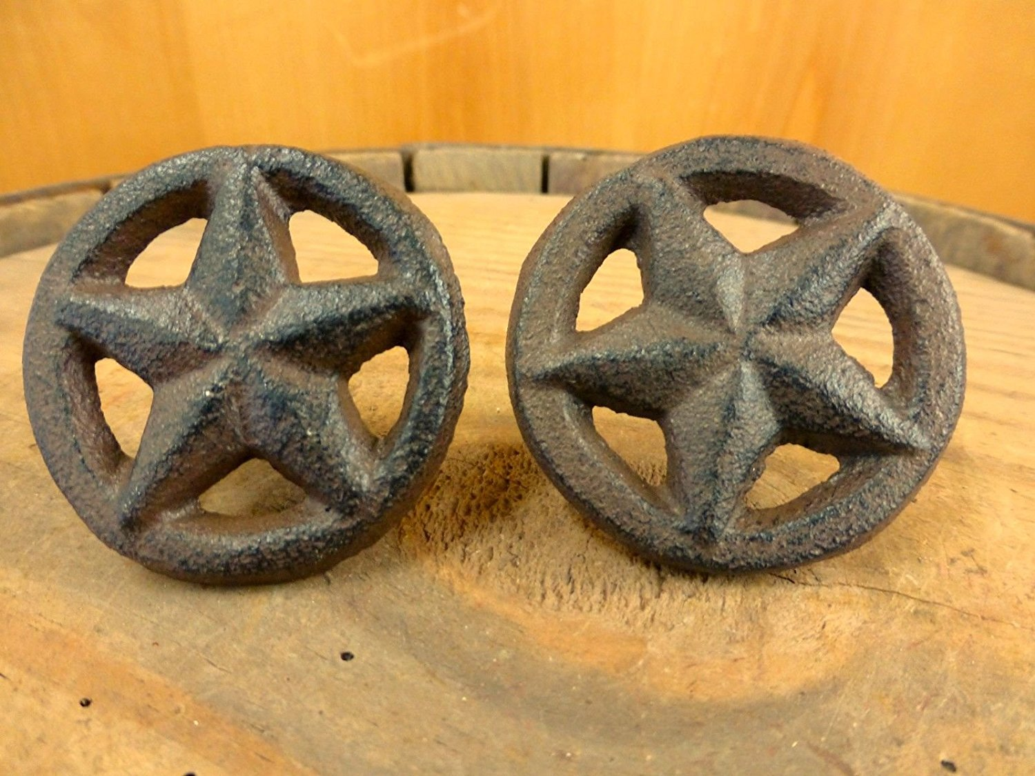Get Quotations · 2 BROWN RUSTIC STAR DRAWER DOOR PULLS KNOBS CAST IRON  CABINET HARDWARE Western