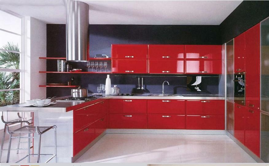 High Gloss Acrylic Kitchen Cabinet Door Self Assemble Kitchen ...