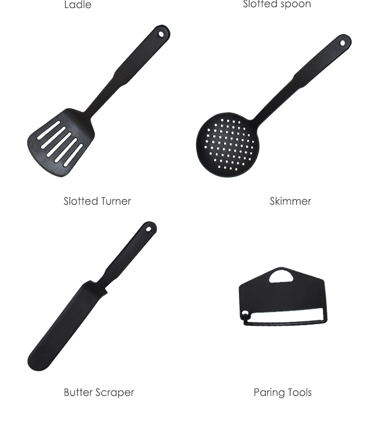 8Pcs Non-Stick Multipurpose Bonny Nylon Kitchen Utensils, Black Kitchen Cooking Tools and Gadgets