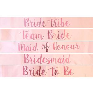 Bachelorette Party Bridal Party Wedding Hen Party rose gold Bride To Be Sashes