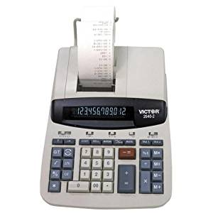 "Wholesale CASE of 5 - Victor Left Side Total Commercial Print Calculator-12-Digit Desktop Calculator,2-Color Printing,8""x11-1/4""x3"""