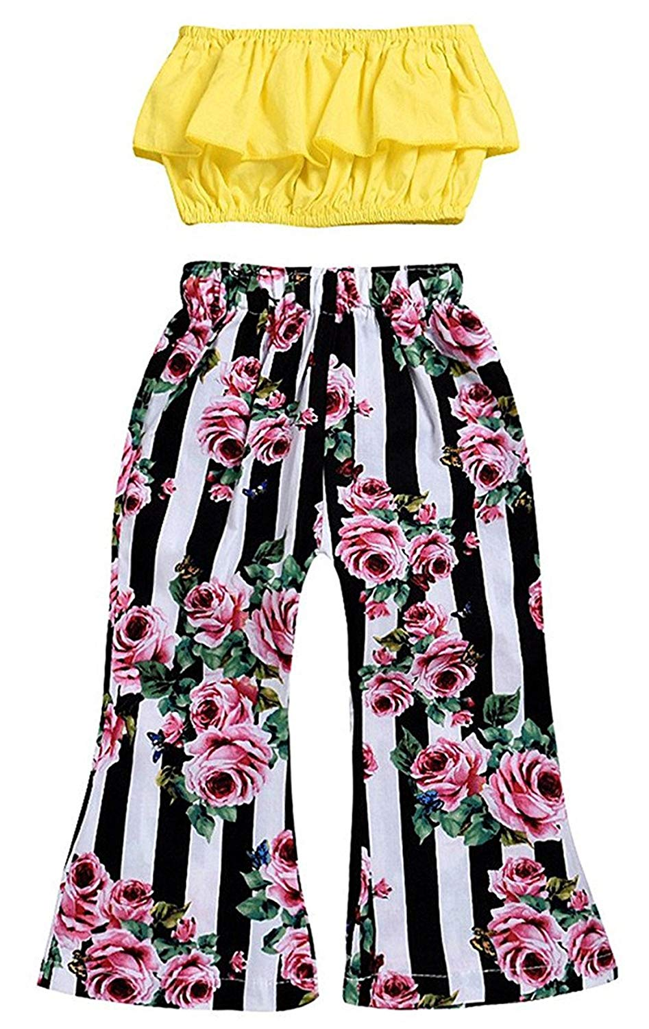 771f68c0b61 Get Quotations · Little Girls Off Shoulder Ruffle T Shirt Crop Tops+Floral  Flare Pants Outfit Set