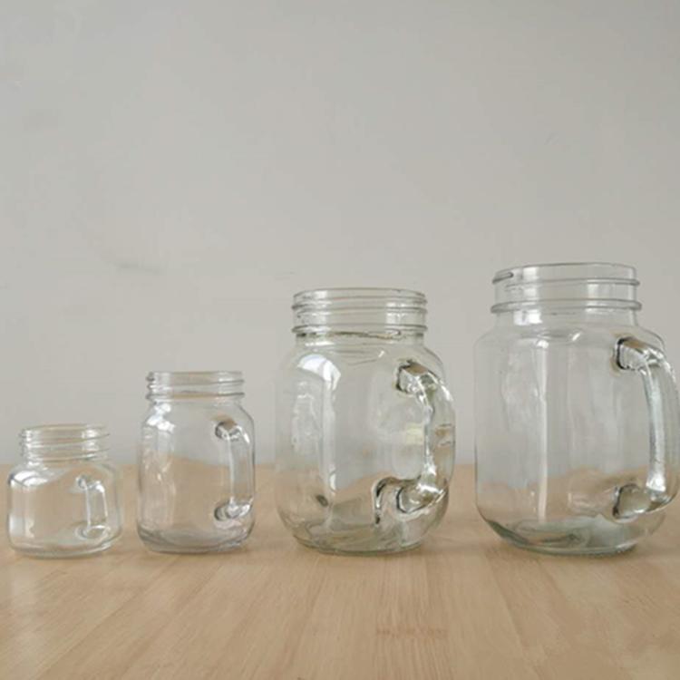 2oz 4oz 14oz 17oz 50ml 130ml 400ml 480ml Glass mason jar with handles