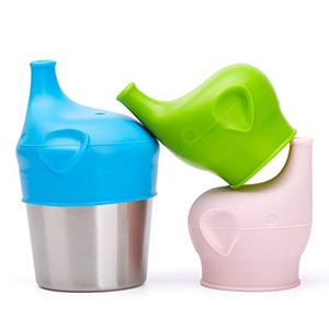 Baby Sippy Cup Lids Spill Proof BPA Free Elephant Baby Universal Sipper Silicone Toddlers Sippy Lids Fit Any Cups