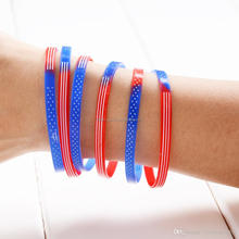 France Germany Italy Spain Country National Silicone Flag Bracelet