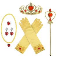6pcs/set Girls Princess Dress up Accessories Set with Princess Gloves Princess Tiara Crown Magic Wand Necklaces for Kids Girl