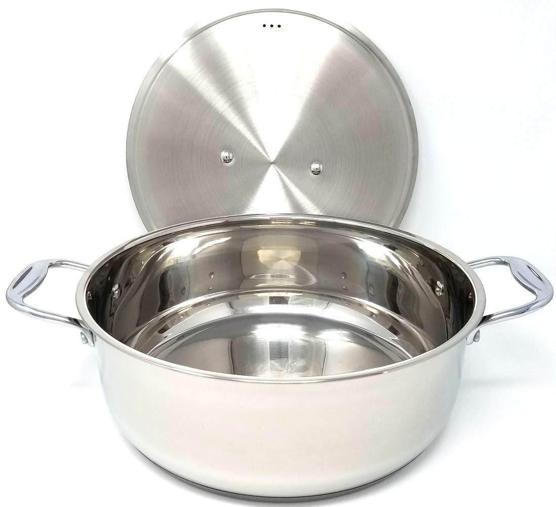 Better Chef BC801 8 Quart Real All Stainless Steel Bright Mirror Polish Exterior Rice, Sauce, Stew, General Cooking Low Pot Cookware