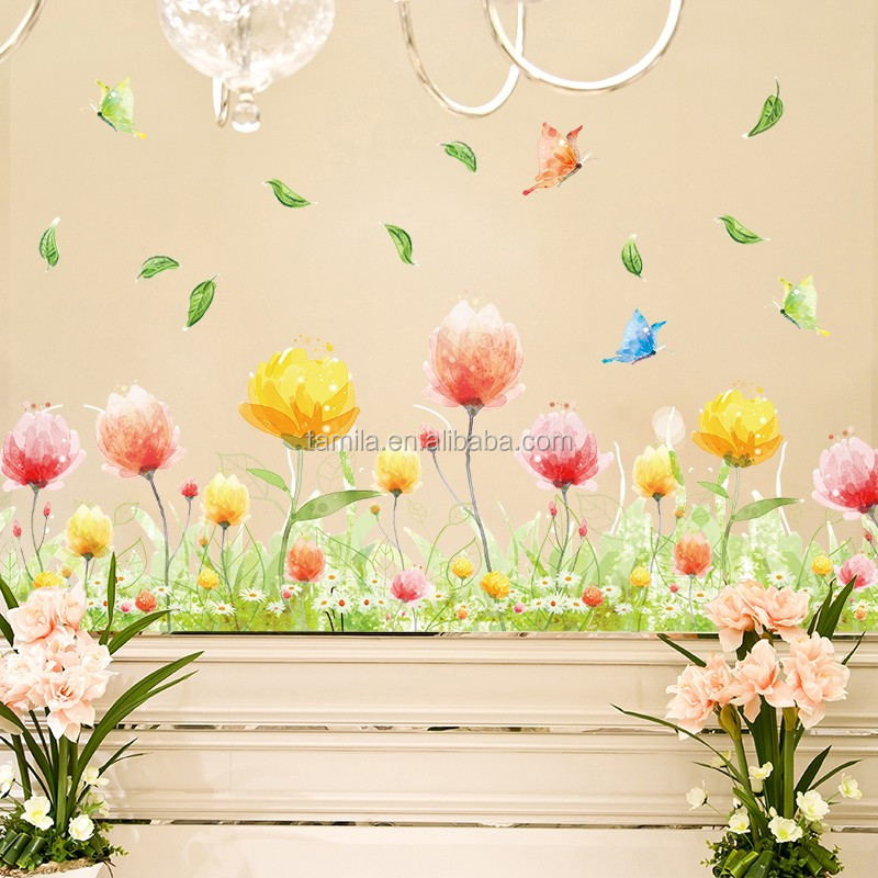 flower self adhesive wall border sticker,butterfly decorative wall decals,reusable italian wallpaper