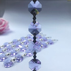 14mm Purple Crystal Octagon Bead Chain With Brass Garland Strand Chandelier Pendants