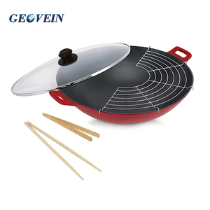 Dia37cm enamel cast Iron 3 pcs wok set with lid and chopsticks