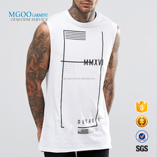 MGOO Customized Made Mens White Tank Tops Sleeveles T-shirts Silk Screen Print 100% Cotton 170g