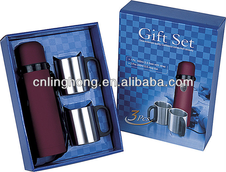 2014 promotional stainless steel thermos business drink bottle gift sets