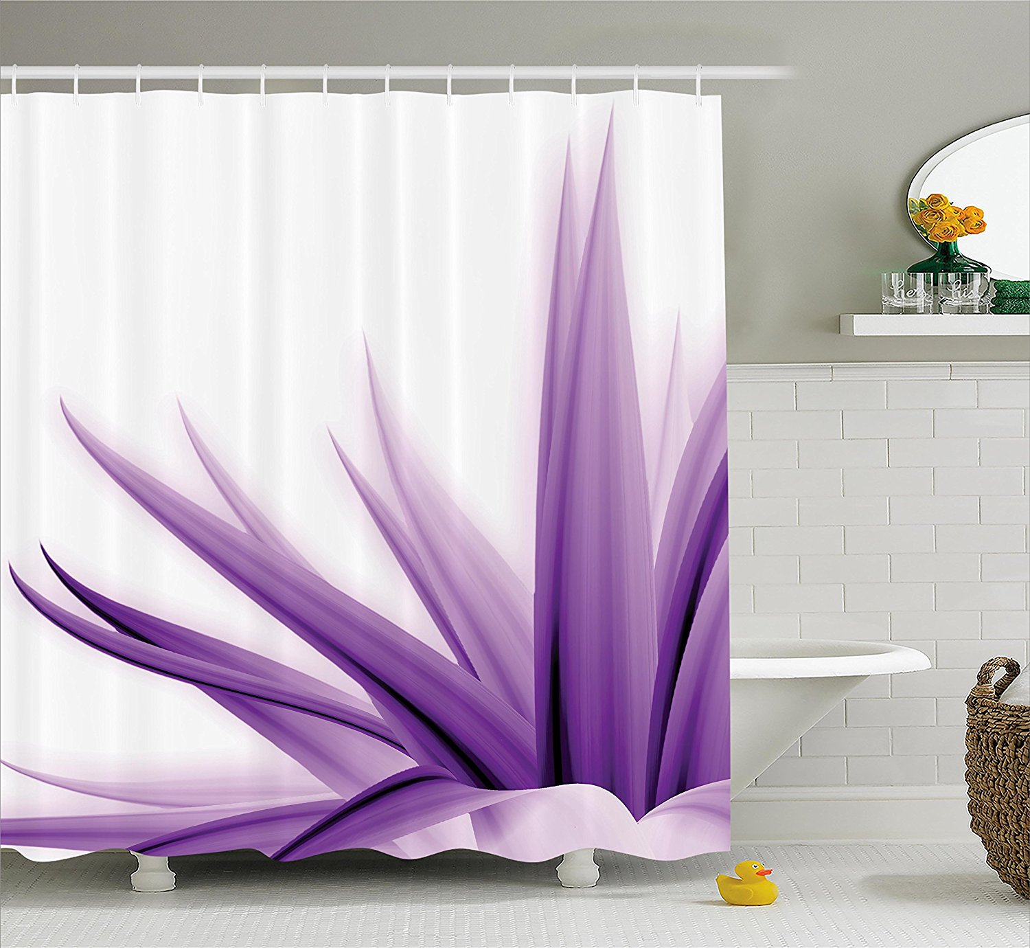 Flower Decor Shower Curtain by Ambesonne, Purple Ombre Long Leaves Water Colored Print with Calming Details Image, Fabric Bathroom Decor Set with Hooks, 70 Inches, Purple and White
