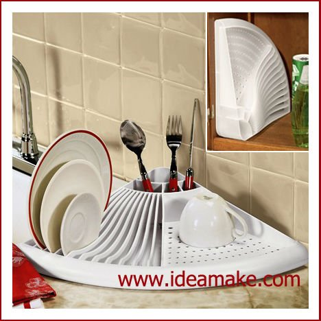 space saving Fan-shaped Dish Dryer with drain board and cutlery holder