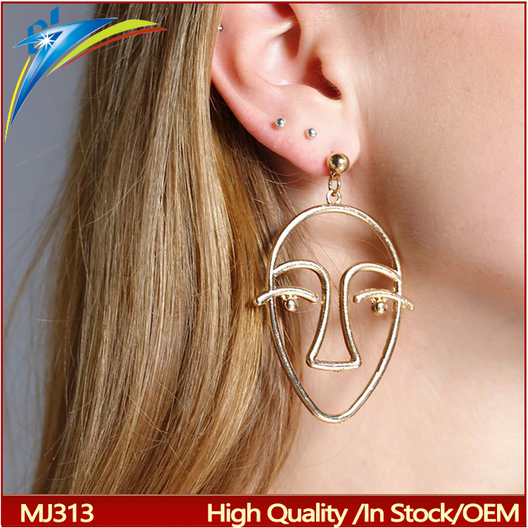 2017 New Exaggerated Punk Statement Metal Hollow Human Face Dangle Earring for Women Creative Figure Earing Jewelry Gift