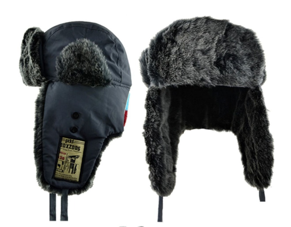 Warm Winter Faux Fur Lined Russian Hat Cap with Ear Flaps ...