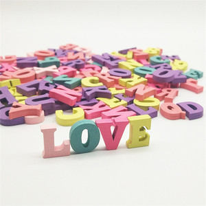 Decoration party wooden alphabet letter love toy colorful custom wooden letter