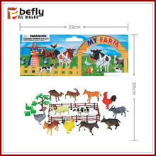 With fences trees grass Plastic farm animal toys