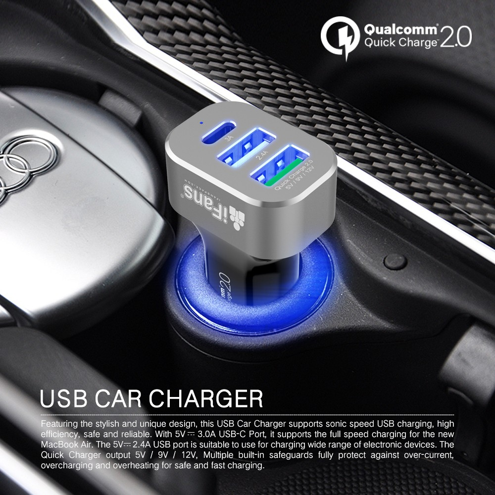 USB-C Car Charger Three Port Output Qucikcharge 2.0 Certified With Colorful Aluminum Ring