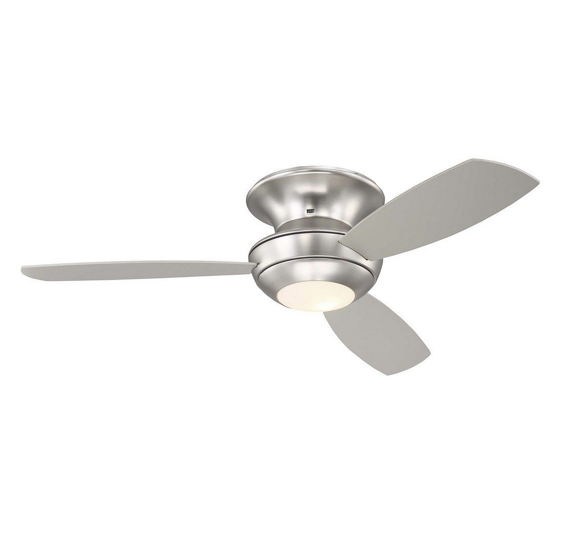 """Trade Winds Lighting TW020316BN 52"""" Contemporary Flush Mounted Low Profile Hugger Indoor Ceiling Fan with Light Kit, with Silver Blades"""