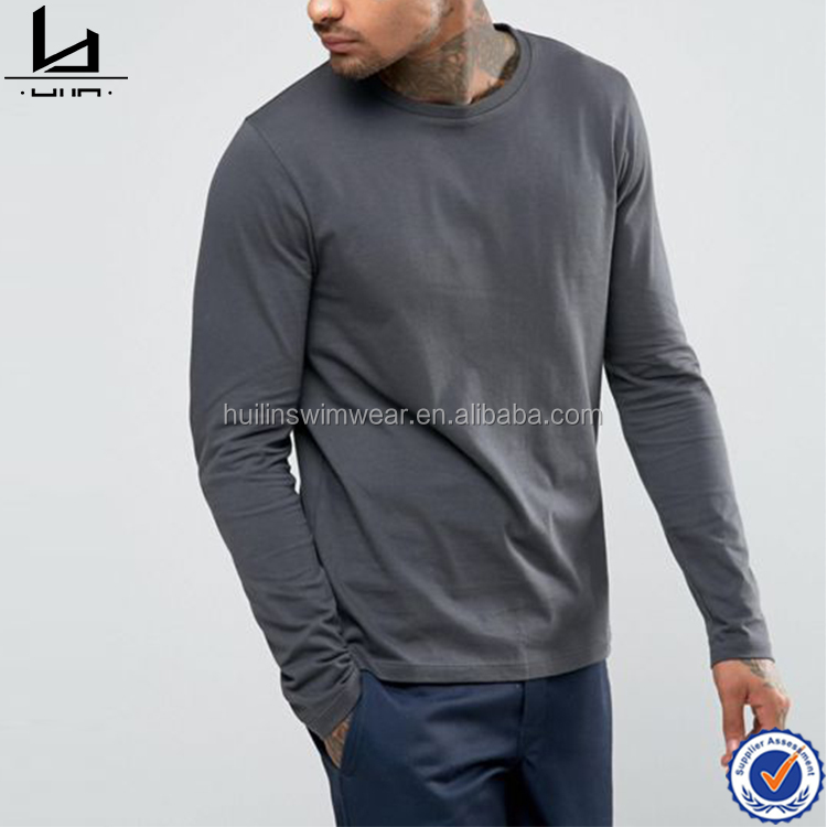 New product long sleeves fitted t-shirts custom cotton tshirt mens apparel