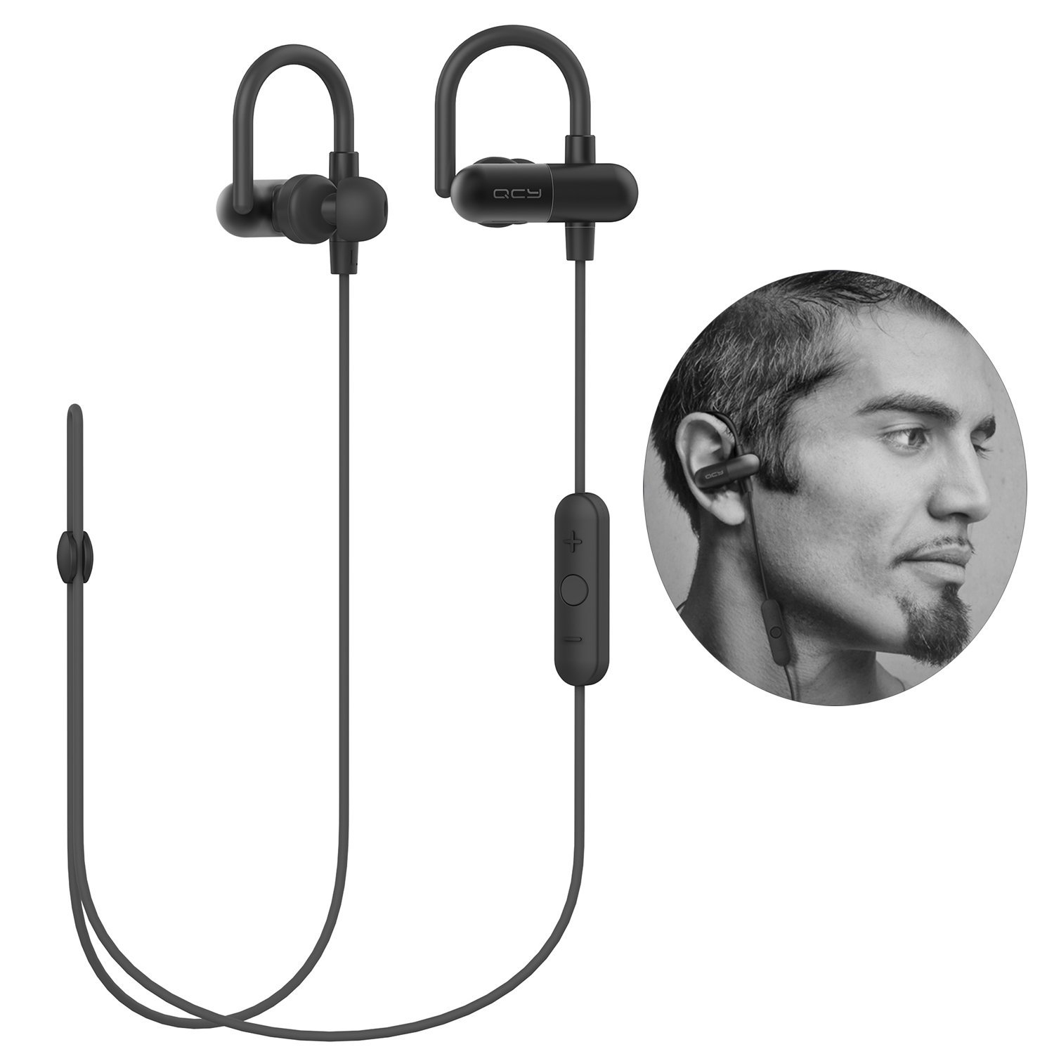 [Upgrade QY8] QY11 Bluetooth Headphones with Memory Metal Ear Hooks Wireless Bluetooth V4.1 Stereo Running Headset Sweatproof QCY APT-X In-Ear Sports Earbuds Earphones Built-in Microphone-Black