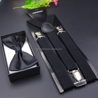 Fashion suspenders with bow tie set for women or for men wedding party