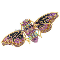 Pink and Purple Enamel and Crystal Insect Bug Bee Brooch