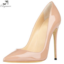 Sexy Fashion Custom Classic Women Patent PU Slip-on Thin High Heels Nude Dress Shoes Pumps Ladies Fancy Party Wedding Shoes