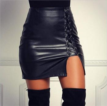 High waist winter sexy fancy skirt top designs pictures lady bodycon split criss cross tight bandage short leather mini skirt
