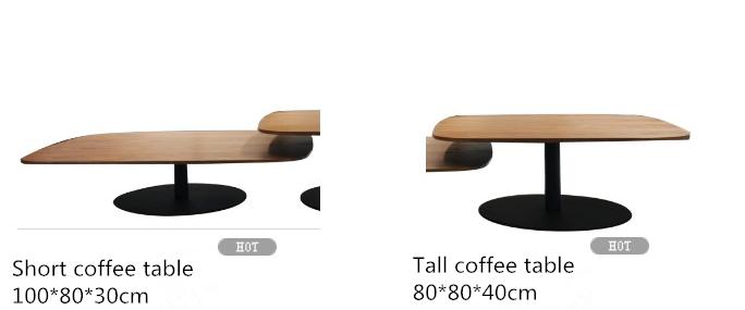 Italiano diseño Simple muebles de sala Oval de madera mesa de café con Base de Metal