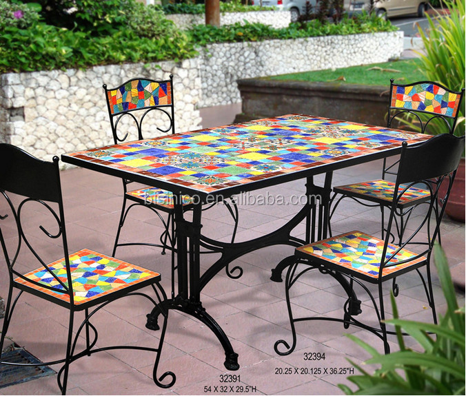 mexico style garden table and chairs outdoor wrought iron and ceramic mosaic dining set bf01. Black Bedroom Furniture Sets. Home Design Ideas