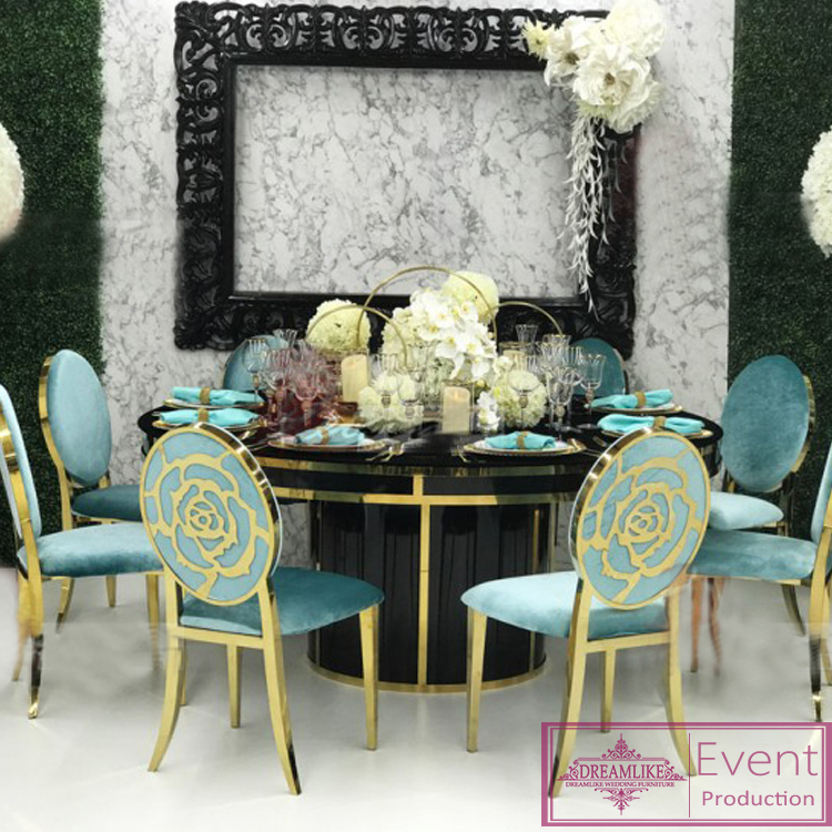 Wedding furniture rose pattern metal back stainless steel wedding chairs for sale