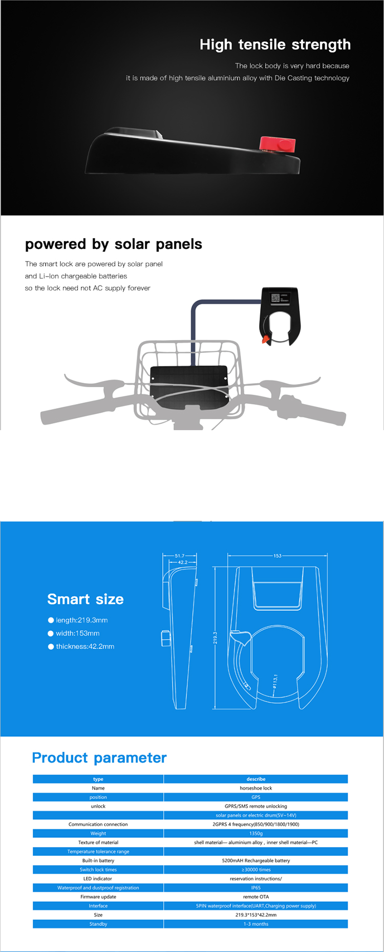 Waterproof sharing anti-theft system GPS electronic bluetooth Smart bicycle lock,morden bluetooth bike lock