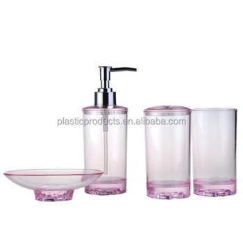 Fashional acrylic transparent plastic bathroom accessory for Bathroom accessories plastic