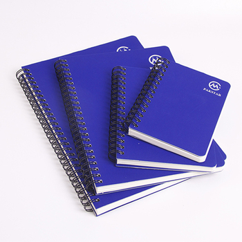 Eco-friendly blue hard cover 4 pack spiral note book with embossing logo